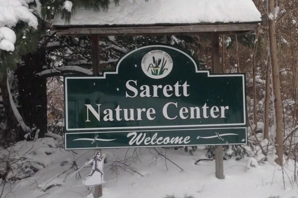 Sarett sign in snow